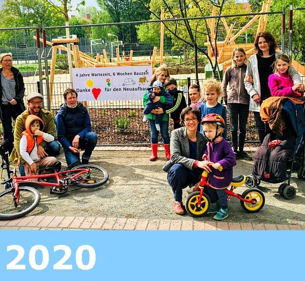 Bild: Fototermin 28. April 2020,  Spielplatz am Goldfischteich / Schiffsspielplatz / Klemke-Park,  Neubau fertig,  komplettgesperrt