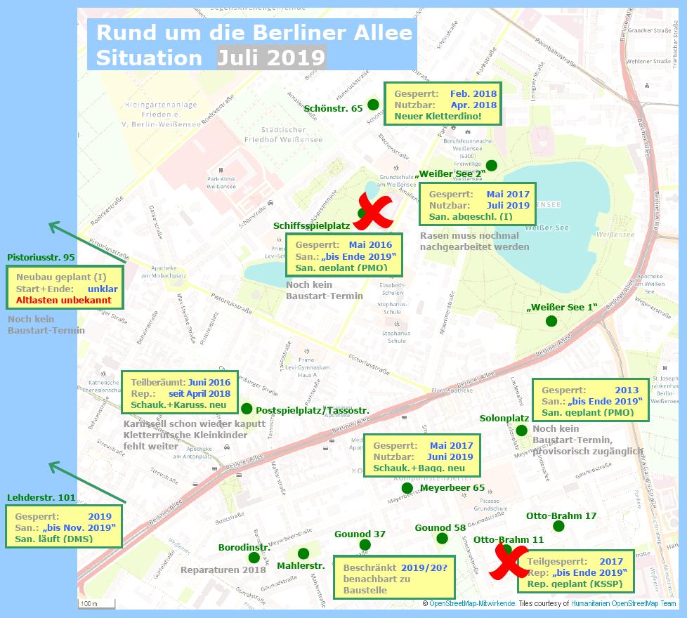 Spielplätze rund um die Berliner Allee, Übersicht Stand: 18.07.2019